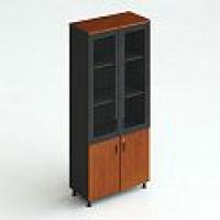 Шкаф для документов, закрытый (верх — стекло, низ — дерево)